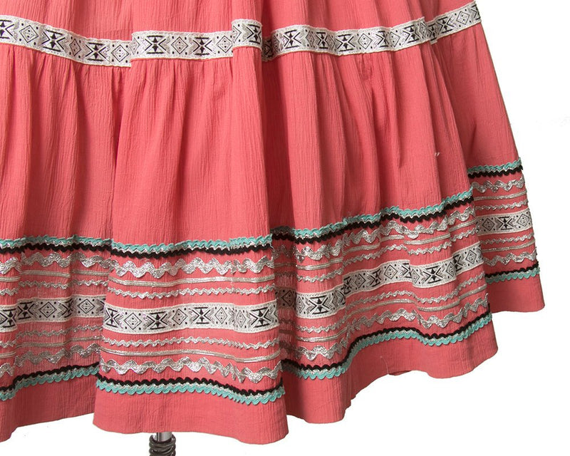 Vintage 1950s Circle Skirt | 50s Fiesta Patio Skirt Pink Ric Rac Southwestern Square Dance Skirt (small)