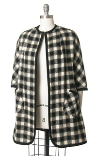 Vintage 1960s Swing Coat | 60s Checkered Wool Jacket Checked Black White Overcoat (small/medium)
