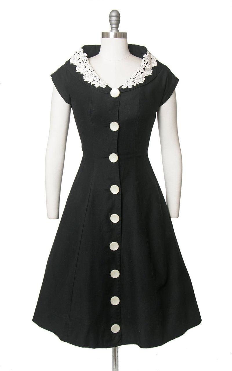 Vintage 1950s Dress | 50s Black Cotton Shirt Dress White Lace Shawl Collar Big Button Down Full Skirt Shirtwaist Day Dress (medium)