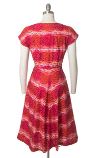 Vintage 1950s Dress | 50s Paisley Striped Cotton Rhinestones Red Orange Full Skirt Day Dress (medium)