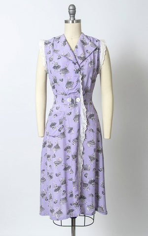 Vintage 1940s Dress | 40s Novelty Print Rayon Spanish Lady Fans Rose Floral Purple Wrap Day Dress (small)