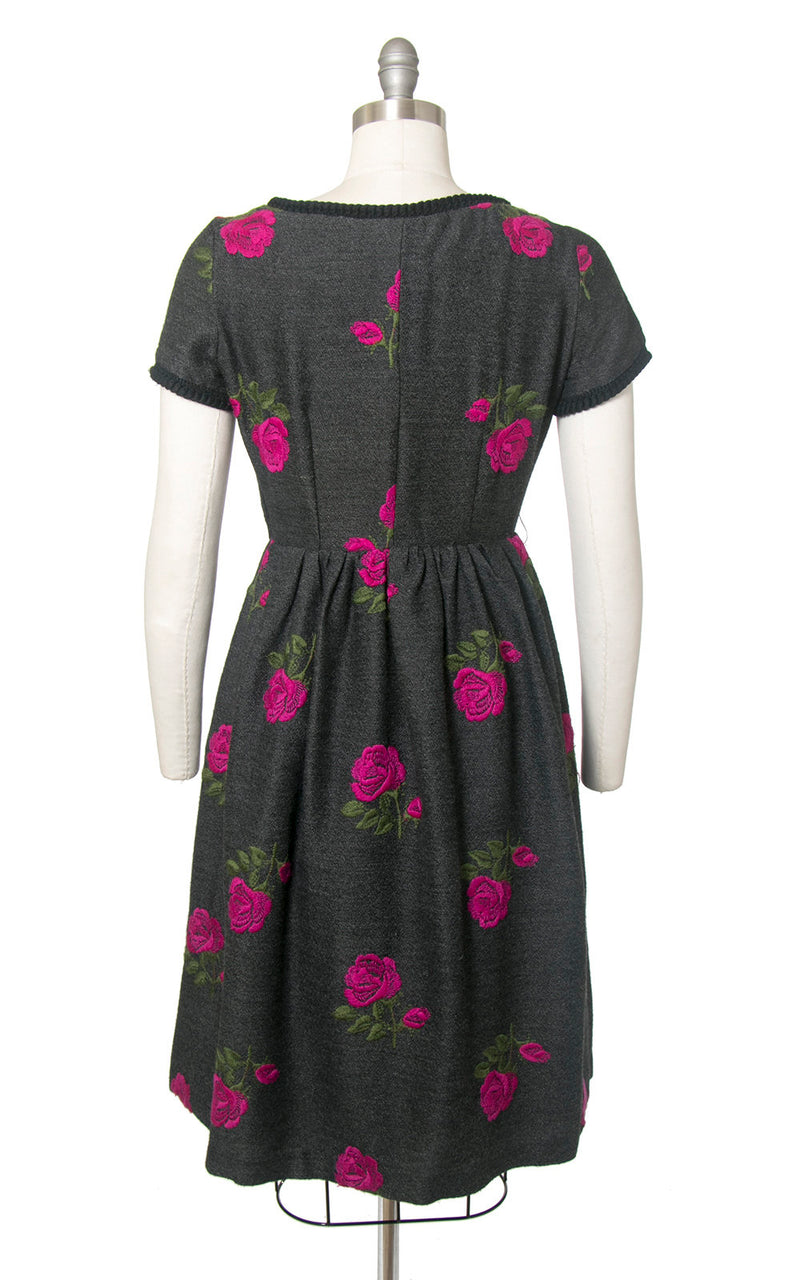 Vintage 1950s Dress | 50s Rose Floral Embroidered Wool Grey Gray Full Skirt Day Dress (medium)