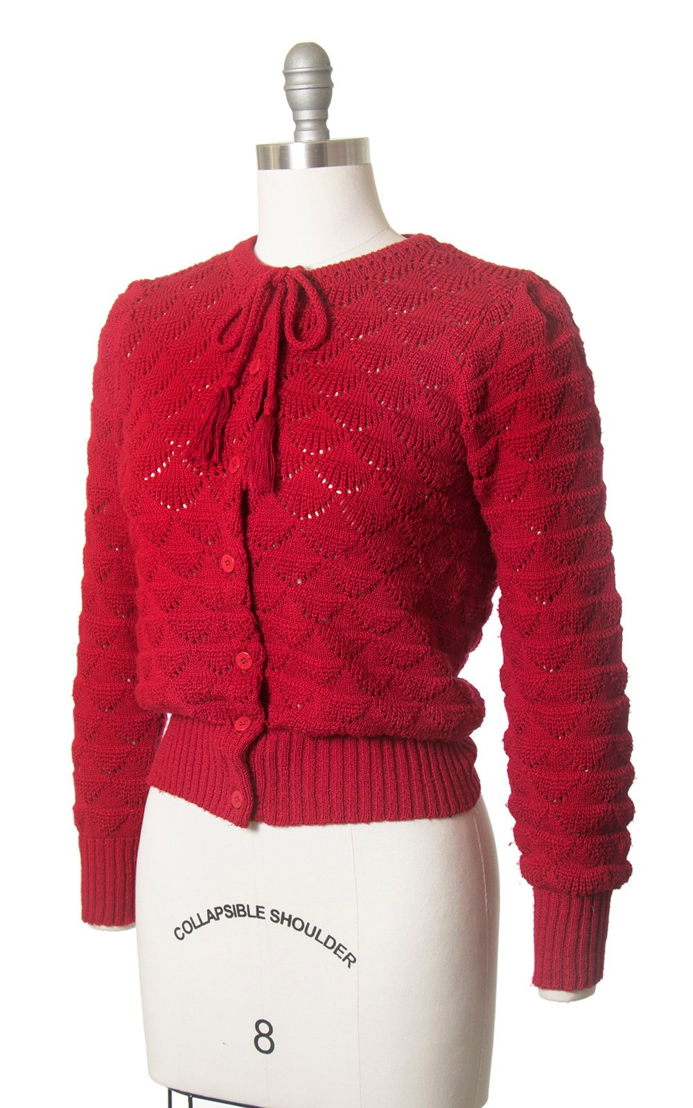 Vintage 1980s Cardigan | 80s PIERRE CARDIN Red Open Knit Tassel Bow Ties Sweater Top (small/medium)