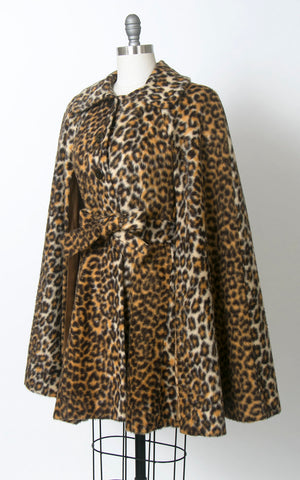 Vintage 1970s Cape | 70s Leopard Print Faux Fur Belted Animal Print Poncho Swing Coat (small/medium/large)
