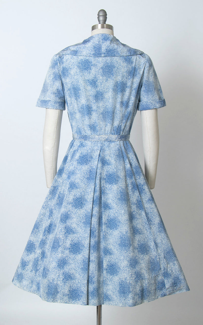 Vintage 1950s Dress | 50s Bubble Polka Dot Printed Rayon Blue Full Skirt Day Dress (small)