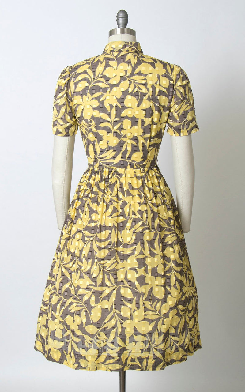 Vintage 1960s Dress | 60s Floral Cotton Secretary Shirt Dress Chartreuse Pussy Bow Shirtwaist Day Dress (medium)