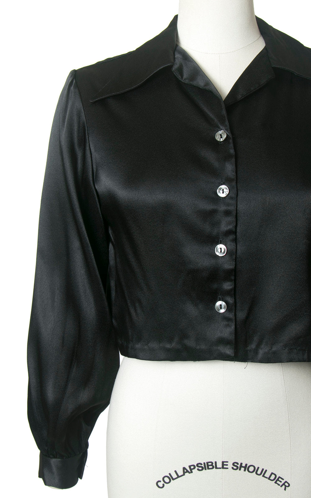 Vintage 1960s 1970s Blouse | 60s 70s does 1940s Black Satin Cropped Bishop Sleeve Art Deco Disco Crop Top (medium)