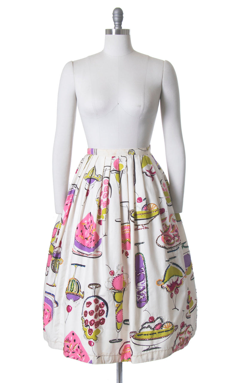 Vintage 1950s Skirt | 50s Sequin Beaded Novelty Print Cotton Dessert Ice Cream White Full Skirt (medium)