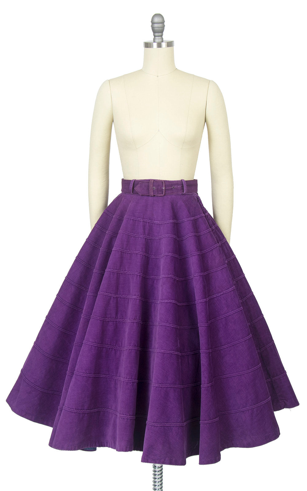 Vintage 1950s Circle Skirt | 50s Royal Purple Cotton Corduroy Belted Swing Skirt (x-small)