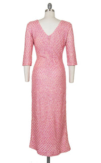 Vintage 1960s Sweater Dress | 60s Pink Iridescent Sequin Beaded Knit Wool Full Length Formal Evening Party Gown (medium/large)