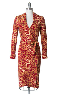 Vintage 1990s Dress | 90s DIANE VON FURSTENBERG Leopard Print Silk Jersey Knit Red Animal Print Wrap Dress (small/medium)