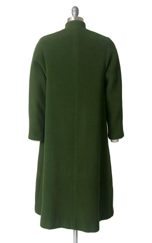 Vintage 1940s Coat | 40s Green Wool Toggle Closures Warm Winter Swing Coat (medium)