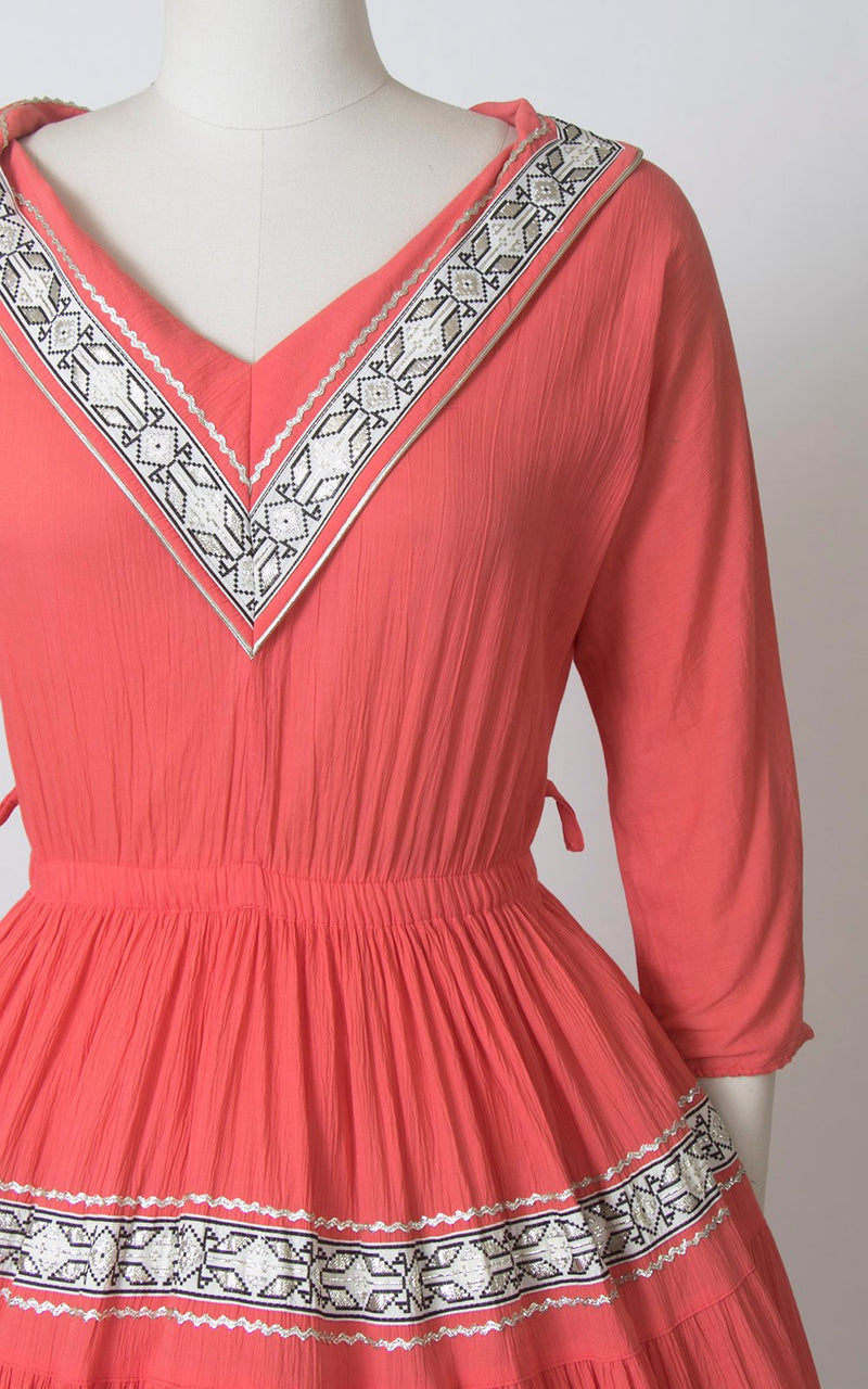 Vintage 1950s Dress | 50s Fiesta Patio Dress Pink Silver Ric Rac Southwestern Square Dance Swing Day Dress  (small/medium)