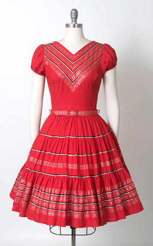 Vintage 1970s Dress | 70s does 1950s Fiesta Patio Dress Red Cotton Southwestern Square Dance Swing Day Dress (small/medium)