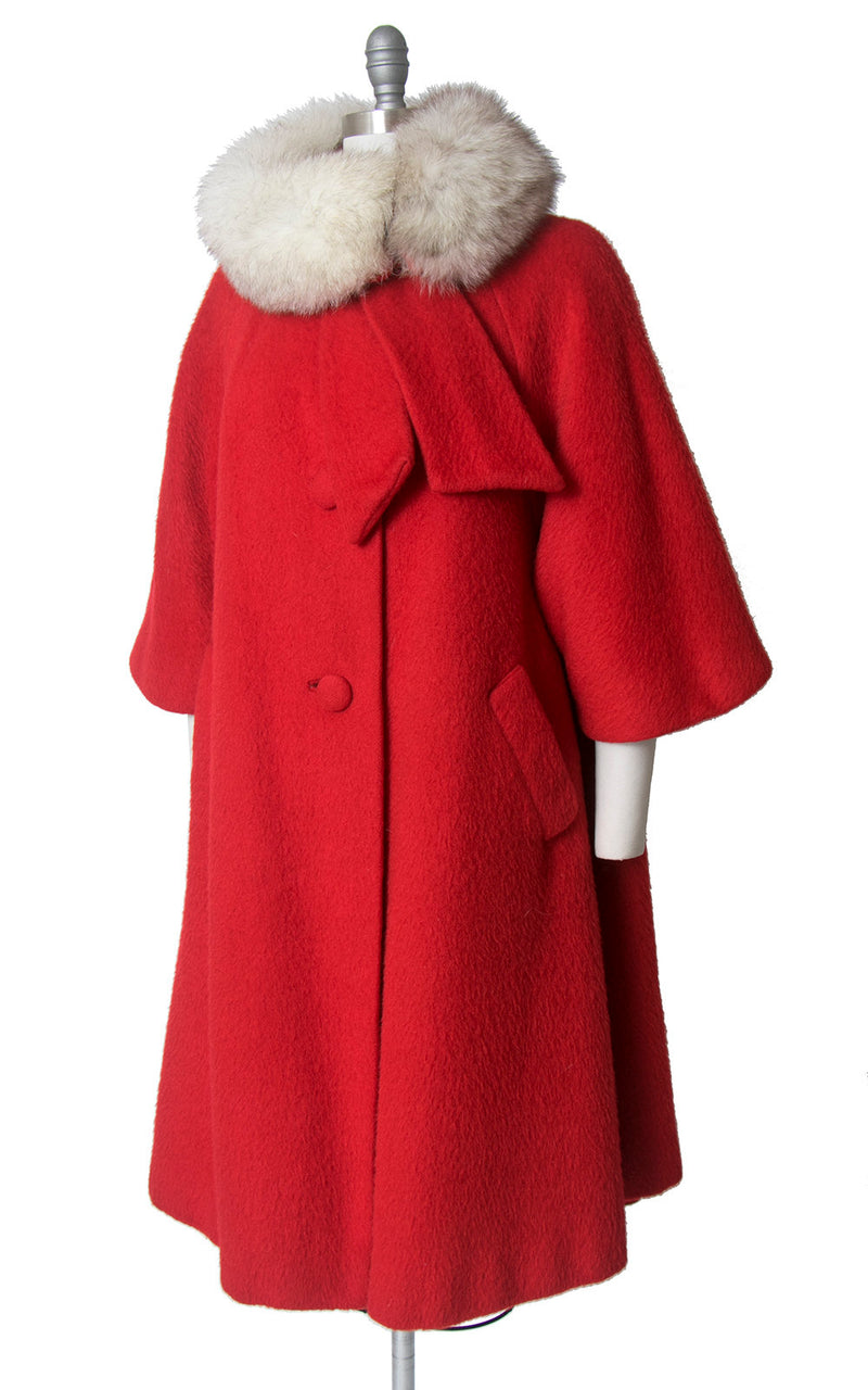 Vintage 1960s Coat | 60s LILLI ANN Red Mohair Fox Fur Collar Swing Coat (large/x-large)