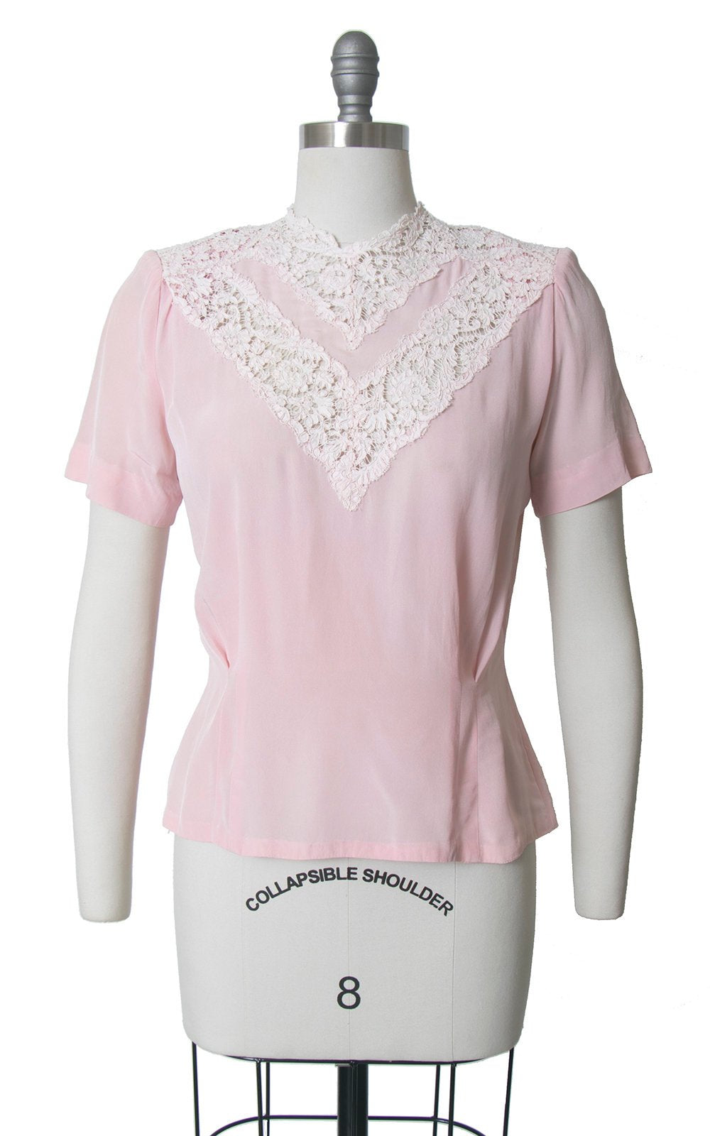 Vintage 1940s Blouse | 40s Rayon Lace Light Pink Button Back Short Sleeve Top (medium)