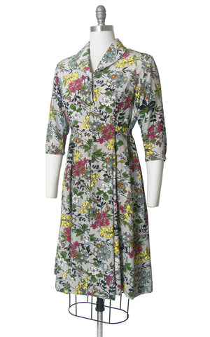 Vintage 1940s Dress | 40s Floral Print Rayon Shirtwaist Empire Waist Maternity Day Dress (medium)