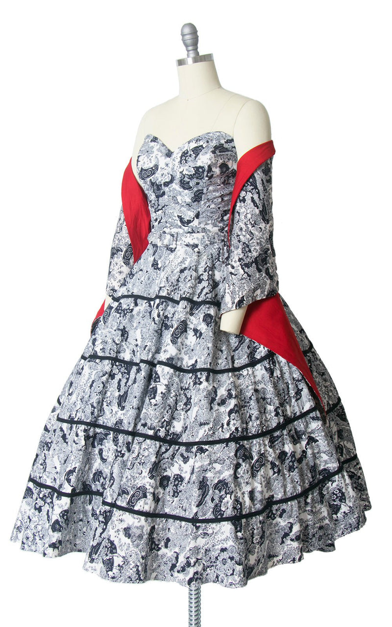 Vintage 1950s Dress Wrap Set | 50s Asian Novelty Print Cotton Rhinestones Navy Blue Red Strapless Sweetheart Circle Skirt Sundress (small)