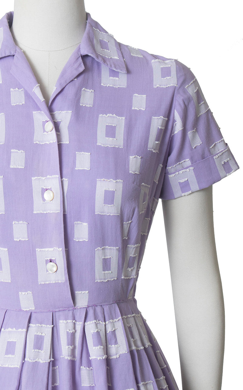 Vintage 1950s Dress | 50s Purple Cotton Square Printed Shirt Dress Full Skirt Shirtwaist Day Dress (medium)