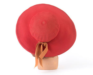 Vintage 1940s 1950s Sun Hat | 40s 50s NEW YORK CREATION Red Wide Brim Picture Hat
