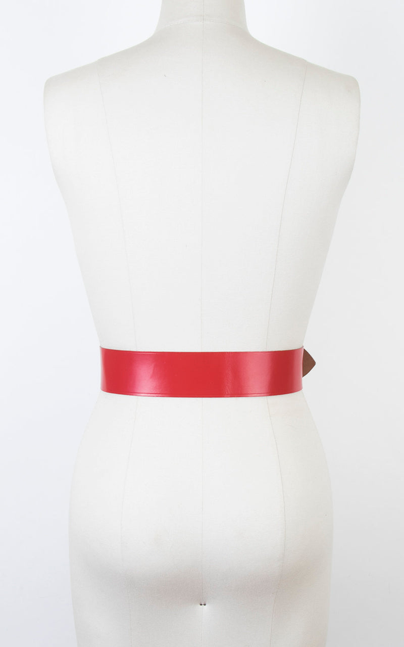 Vintage 1960s Cinch Belt | 60s Red Leather Laced Wide High Waist Belt (small/medium)