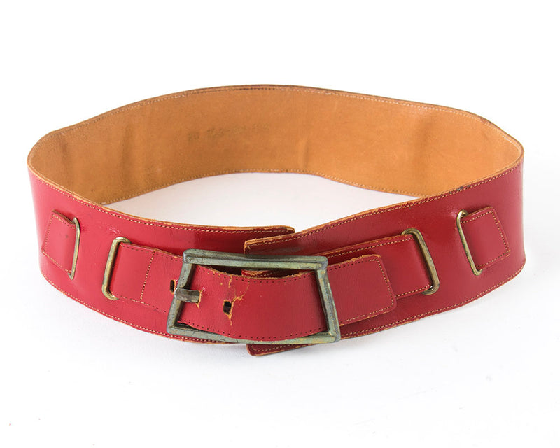 Vintage 1950s Cinch Belt | 50s Red Leather Buckled Wide High Waist Belt (small/medium)