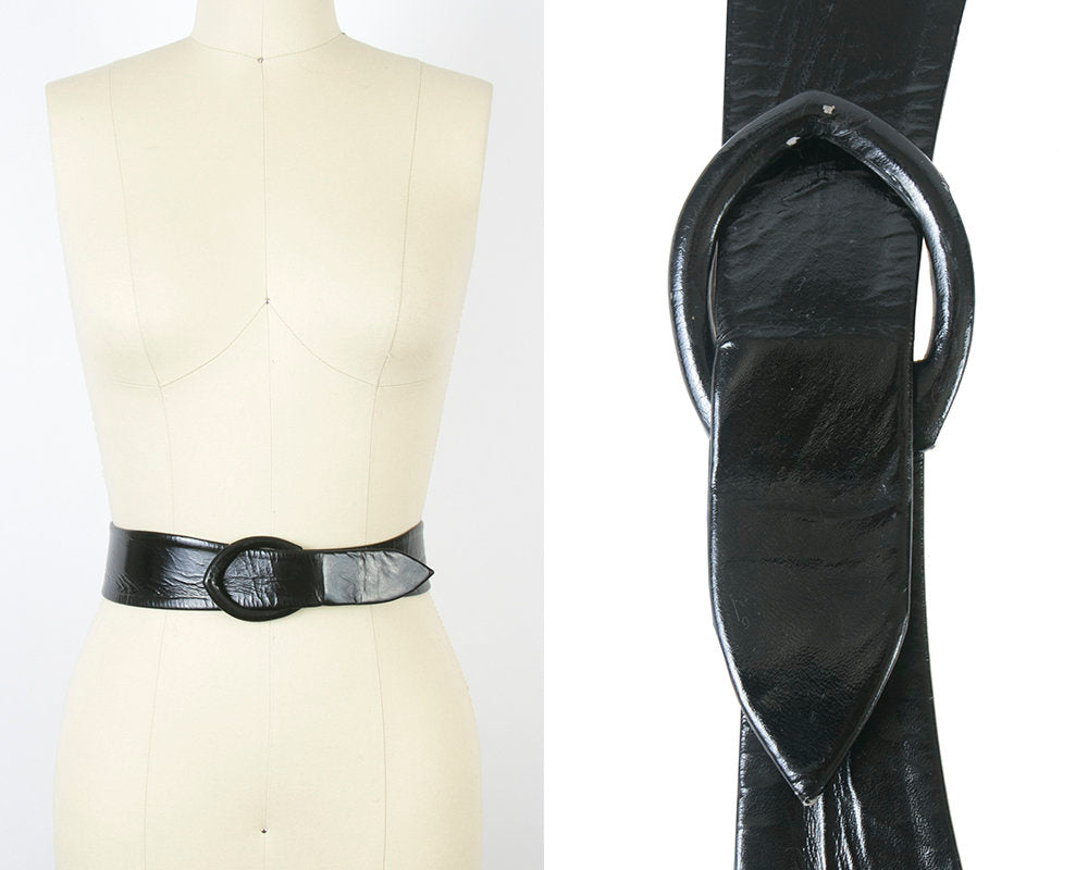 Vintage 1960s Cinch Belt | 60s Black Patent Leather Look Vinyl Wide High Waist Belt (small)
