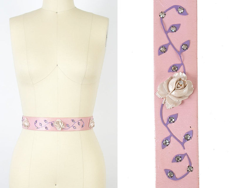 Vintage 1960s Cinch Belt | 60s Rose 3D Pink Leather High Waist Belt (x-small/small)