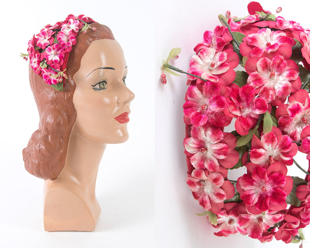 Vintage 1950s Hat | 50s Pink Floral Juliet Cap Formal Cocktail Fascinator