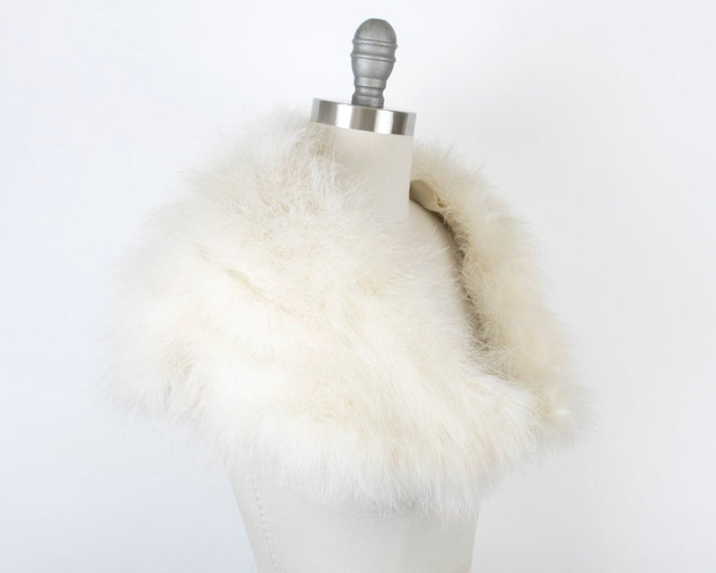 Vintage 1960s Hat + Wrap Set | 60s White Marabou Feather Pillbox Hat Bridal Wedding Party Stole