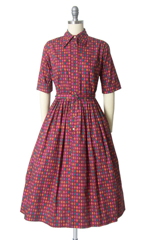 Vintage 1950s Dress | 50s Harlequin Printed Cotton Shirt Dress Full Skirt Shirtwaist Day Dress (small)