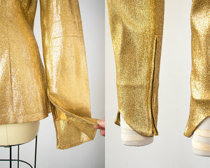 RARE Vintage 1950s Set | 50s Metallic Gold Lamé Blouse Cigarette Pants Mermaid Skirt Bombshell Outfit (small/medium)