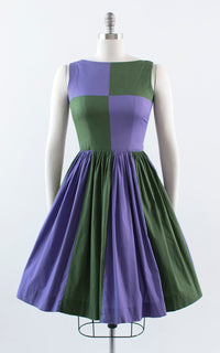 Vintage 1950s 1960s Dress | 50s 60s Color Block Cotton Purple Green Full Skirt Fit and Flare Day Dress (small)