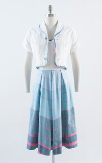 Vintage 1950s Dress Set | 50s Chevron Striped Cotton Sundress Bolero Blue White Day Dress (small/medium)