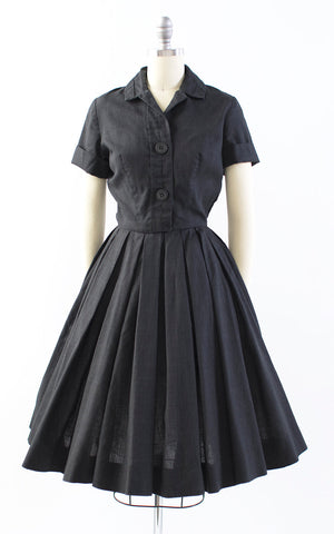 Vintage 1950s Dress | 50s HOLLY HOELSCHER Black Cotton Shirt Dress Circle Skirt Shirtwaist Day Dress with Pockets (x-small)