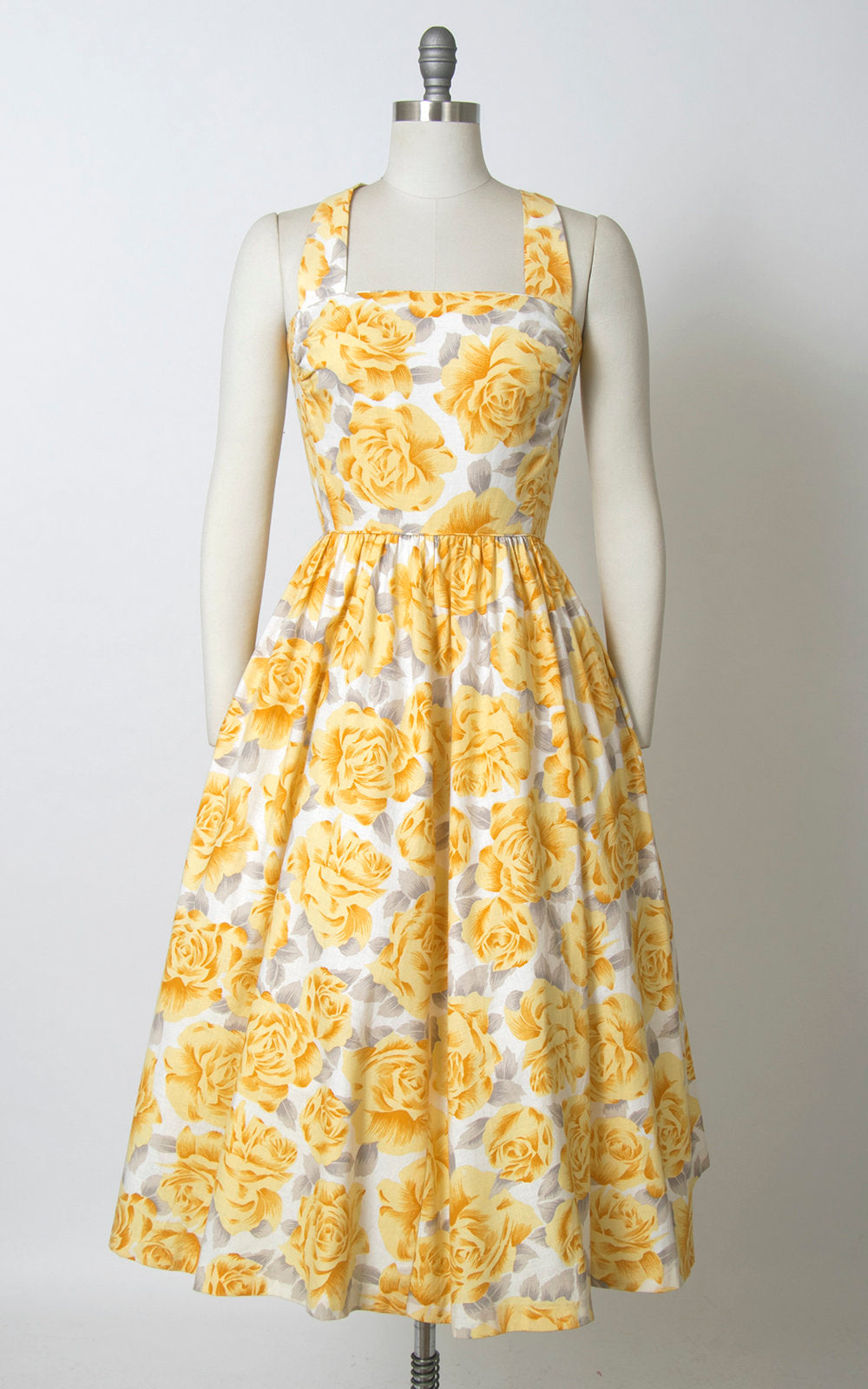 Vintage 1980s does 50s Sundress | 80s LANZ Rose Floral Print Cotton Yellow White Midi Day Dress with Pockets (small)