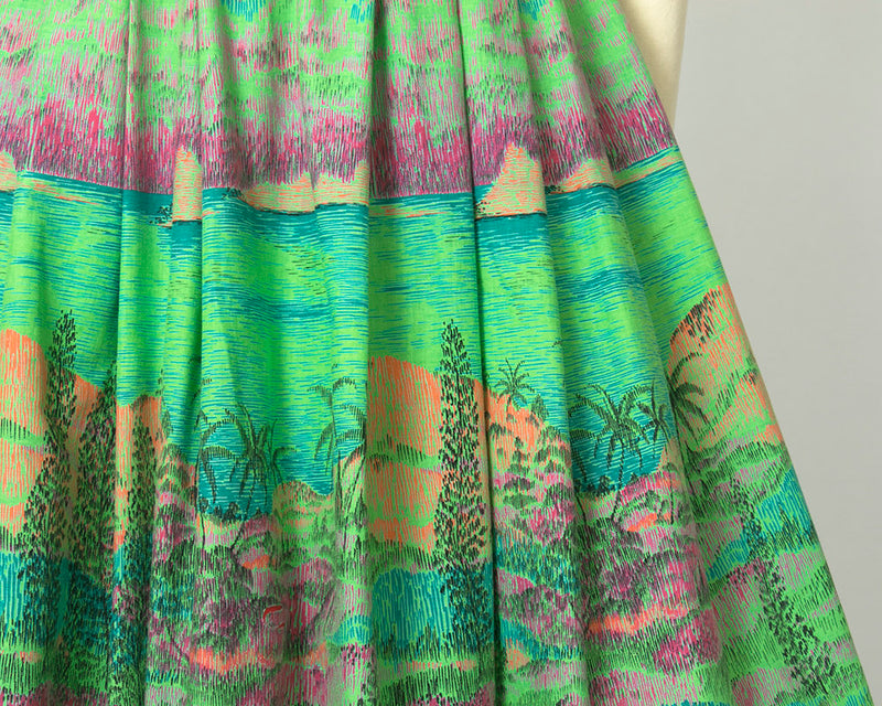 Vintage 1960s Skirt | 60s Novelty Print Cotton Tropical Hawaiian Lime Green Full Swing Skirt (small)