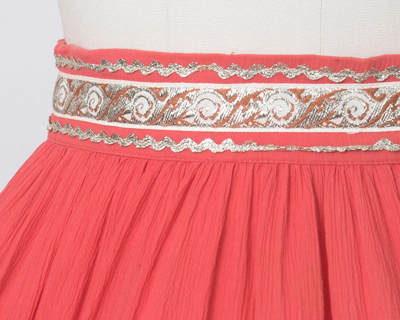 Vintage 1950s Circle Skirt | 50s Fiesta Patio Skirt Pink Silver Ric Rac Southwestern Square Dance Swing Skirt (medium)