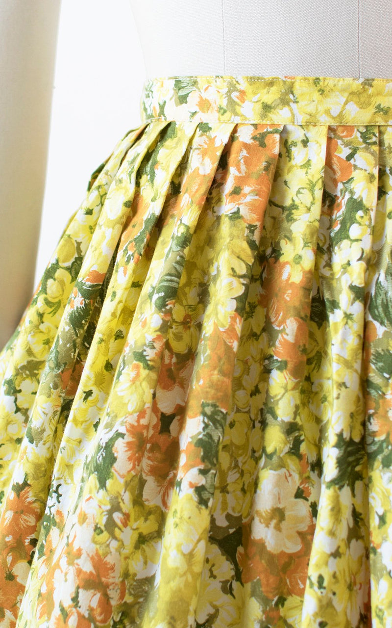Vintage 1950s Skirt | 50s Floral Print Cotton Yellow Full Swing Skirt (small)