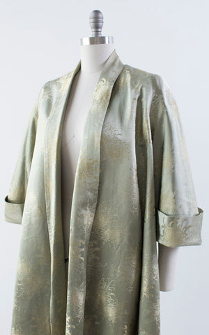 Vintage 1950s Swing Coat | 50s Silk Satin Asian Chrysanthemum Floral Metallic Jacquard Evening Jacket Opera Jacket (medium)