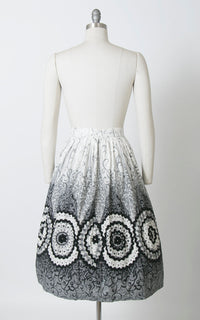 Vintage 1950s Skirt | 50s Filigree Border Print Cotton Ric Rac Rhinestones Printed Black Grey Full Swing Skirt (small)