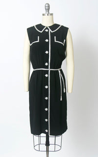 Vintage 1960s Dress | 60s Trompe L'Oeil Beaded Rayon Crepe Black Faux Shirtwaist Sheath Cocktail Party Dress (small)