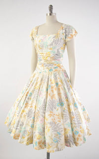 Vintage 1950s Dress | 50s PAT PREMO Fern Floral Print Cotton Circle Skirt Cream Pleated Drop Waist Day Dress (medium)