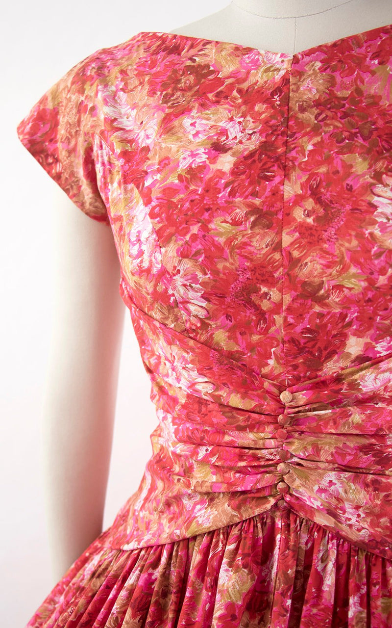 Vintage 1950s Dress | 50s Floral Cotton Pink Full Skirt Pleated Drop Waist Bow Party Dress (medium)