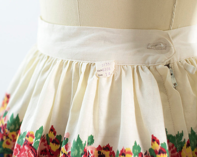 Vintage 1960s Skirt | 60s Rose Floral Border Print Cotton Cream Blue DEADSTOCK Full Swing Skirt (small)