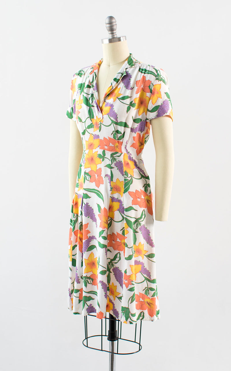 Vintage 1930s Dress | 30s Floral Print Cotton Linen Day Dress White Tea Dress (small/medium)