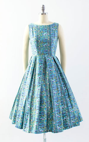 Vintage 1950s Dress | 50s Egyptian Novelty Print Cotton Sundress Blue Full Skirt Day Dress (x-small/small)
