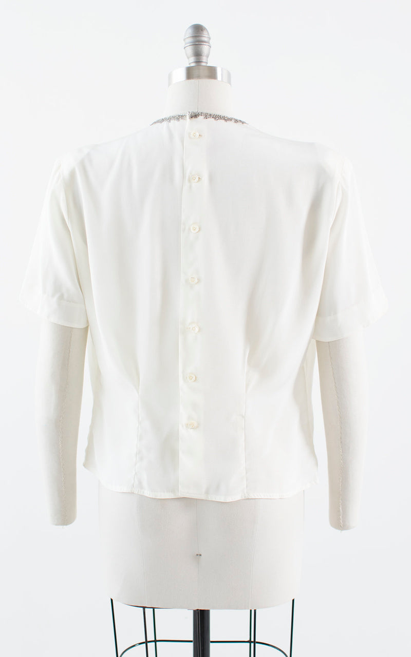 Vintage 1940s 1950s Blouse | 40s 50s Beaded Rhinestone White Rayon Button Back Short Sleeve Top (medium)