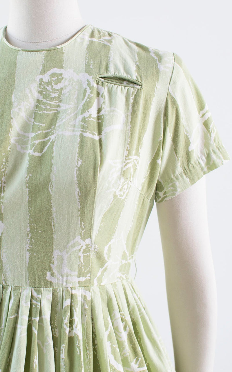 Vintage 1950s Dress | 50s Rose Floral Striped Cotton Green Full Skirt Day Dress (medium)