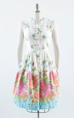 Vintage 1950s Dress | 50s Floral Border Print Cotton Sundress White Shirtwaist Day Dress (medium)